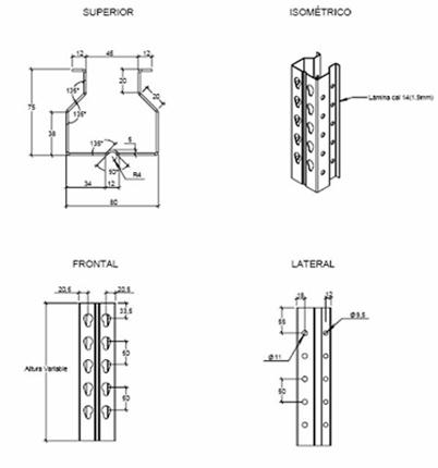 Heavy Duty Shelf Column Roll Forming Machine Profile Drawing