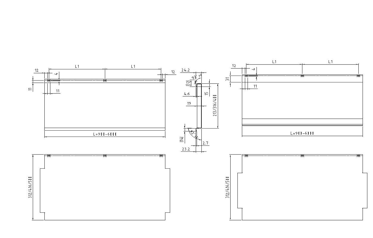Box Profile Roll Forming Machine Profile Drawing