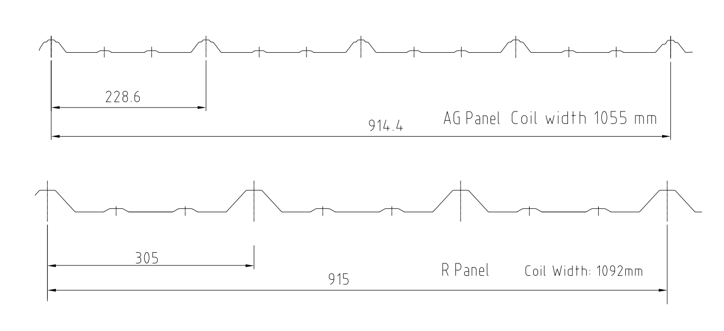 AG Panel Roll Former profile drawing