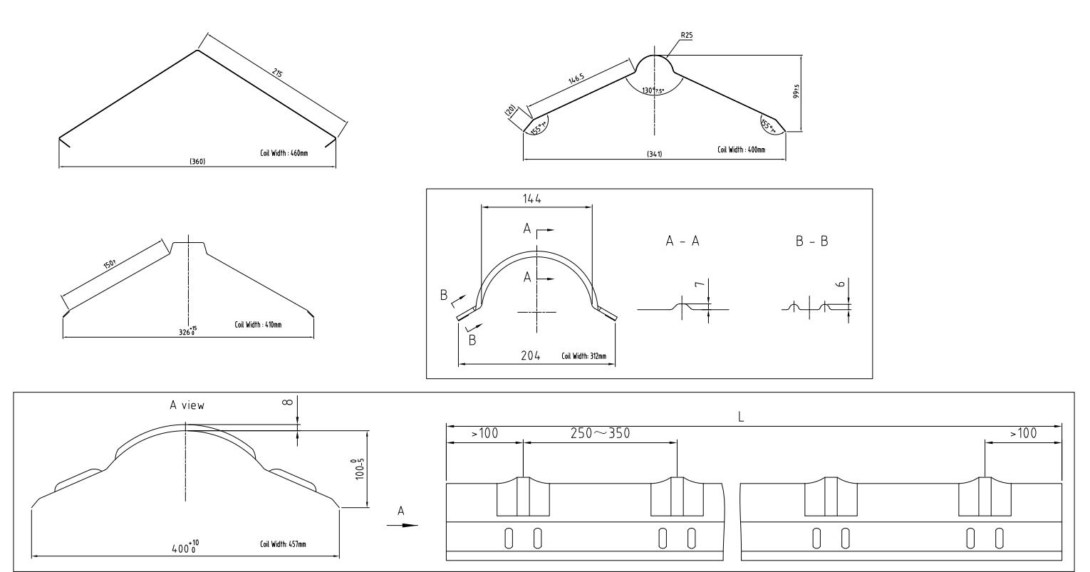 Ridge Capping Roll Forming Machine profile drawing